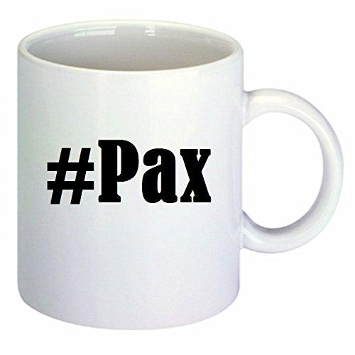 Koffiemok #Pax Hashtag ruit keramiek hoogte 9,5 cm ? 8 cm in wit
