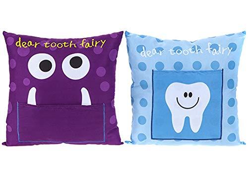 PMS Zahnfee-Kissen 2 verschiedene Designs Blau oder Violett – 20 x 20 cm