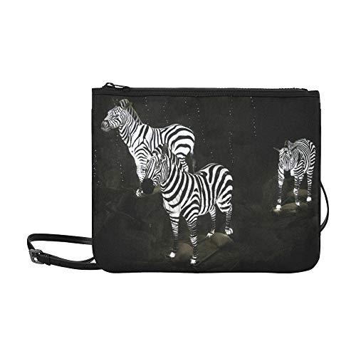 WYYWCY Schwarz-Weiß-Zebra-Muster Benutzerdefinierte hochwertige Nylon Slim Clutch Bag Cross-Body Bag Umhängetasche