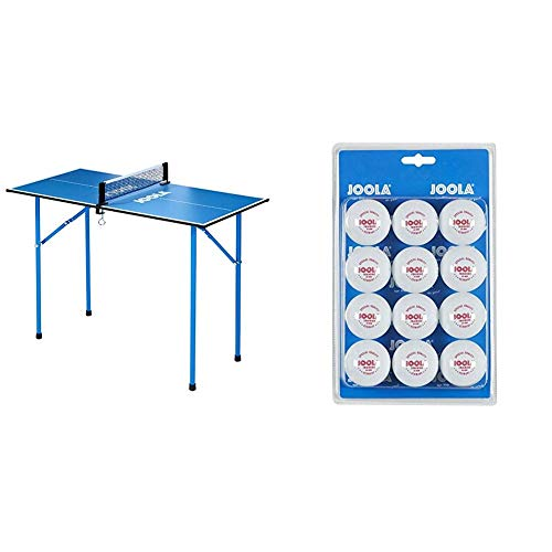 JOOLA TT-Tisch Mini, blau, 19100 & Tischtennis-Bälle Training 40mm, Weiß, 12er Blister Pack