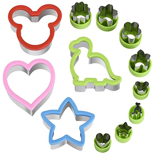 Hhyn Sandwich Cutters Set for Kids, Mickey Mouse, Dinosaur, Star, Heart Shapes and Vegetable Fruit Cookie Cutters Food Mold for Holiday and Party