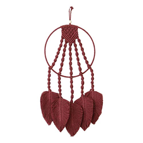 MagiDeal Macrame Boho Tapices de Pared Tapiz Cuerda Tejida Arte Decoración del Hogar - Rojo Vino, Individual