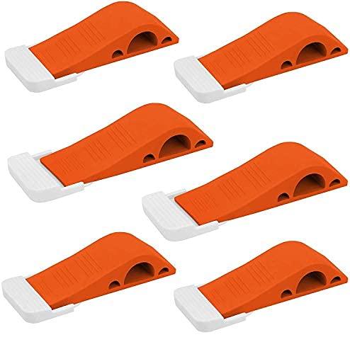 Wundermax Door Stoppers - Rubber Security Wedge for Carpet, Concrete, Tile, Linoleum & Wood - Heavy Duty Door Stop - Home Improvement - 6 Pack - Orange