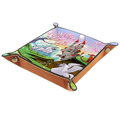 Leder Valet Tray, Würfel Tray Folding Square Holder, Kommode Organizer Platte für Wechsel Münzschlüssel Pegasus Unicorn Dragon Landscape Cartoon