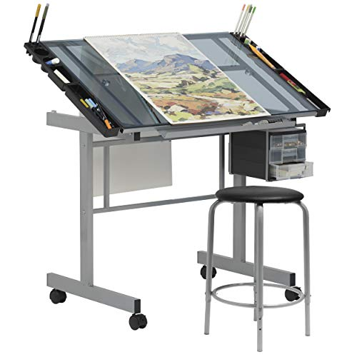 SD Studio Designs Studio Designs 2 Piece Vision Modern Metal Hobby, Craft, Drawing, Drafting Table, Mobile Desk with 40.75' W x 25.75' D Angle Adjustable Top in Silver/Blue Glass