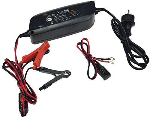ChiliTec Caricabatteria Automatico per Moto e Auto 6 V/12 V Protezione da surriscaldamento e inversione di polarità cicli di Ricarica Completamente Automatici.