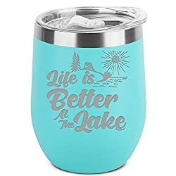 Shop4Ever Life Is Better At The Lake Engraved Insulated Stainless Steel Wine Tumbler with Lid
