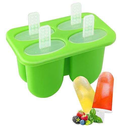Nuovoware Eisformen, 4 Fach Mini Popsicle Eis am Stiel Formen mit Sticks, PP Silikon Material BPA Frei, Perfekt DIY Werkzeug für Familie Küchen Kind Summer - Grün