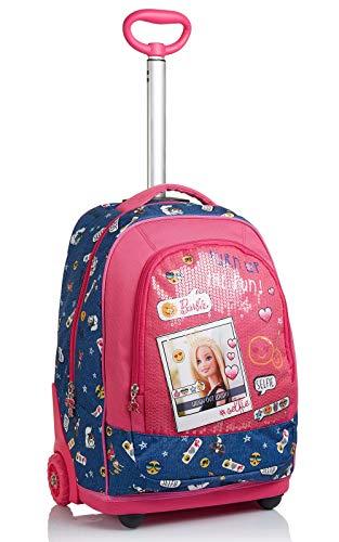 Seven Big Trolley Barbie, Power to the Girl, Rosa y Azul, Escuela y Viaje, Correas para Uso Mochila