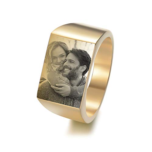DIY Photo Ring Personalized Picture Ring Titanium Steel Ring Simple Ring Men'S Ring Creative Jewelry for Boyfriend(Gold V 1/2)