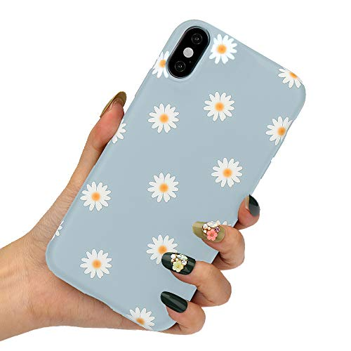 LLZ.COQUE for iPhone Xr Case Cute Daisy Flowers Phone Case Soft Silicone Slim Fit Cute Floral Print Bumper Hybrid Protective Matte Case for iPhone Xr, Grey