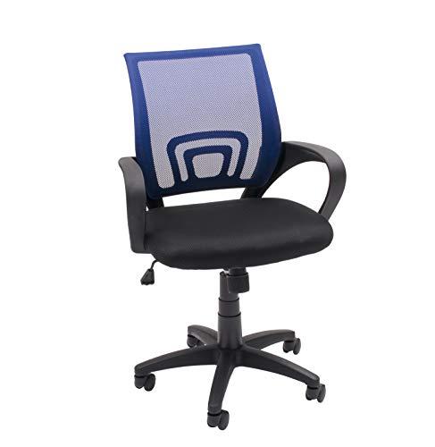 Homely Silla de Oficina, Estudio o Escritorio PRACTIK con Brazo y Tela 3D (Azul MF-03)