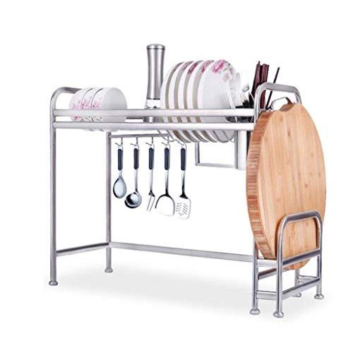 Keukenrek zilver roestvrij staal wastafel rek ophangen afdruiprek rek keuken rek levert opslagrek snijplank houder met haken (maat: L) Large