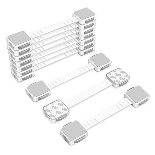 ECO SPACE Child Safety Locks (10 Pack) - Dual Action Multi Use Latches, 3M Adhesive, Adjustable Size, No Tools or Drilling, for Fridge, Cabinets, Drawers, Dishwasher, Toilet Seats, etc.