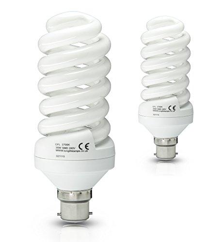 2 x 35w Energy Saving Spiral Light Bulb Warm White 175w Equivalent Very...
