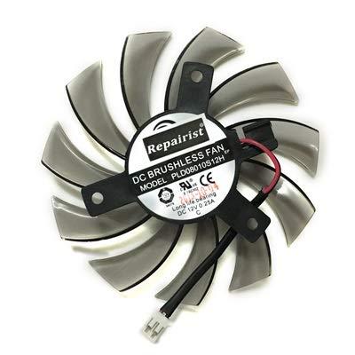 NOBRAND YSSP 75mm 2P 2lines 0.2A T128010SM radiador de la Tarjeta gráfica del Ordenador Ventilador más Fresco for Gigabyte Radeon R9 270X 280x VGA refrigeración (Color : PLD08010S12H)