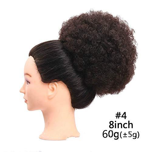 Ricci capelli sintetici parrucca afro Kinky Curlyponytail Puff donut chignon chignon con due pettini di plastica breve acconciature da sposa Updo 6o