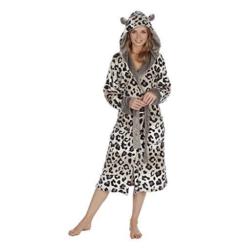 Damen-Morgenmantel mit Kapuze und Tiermotiv Gr. Medium, Leopard