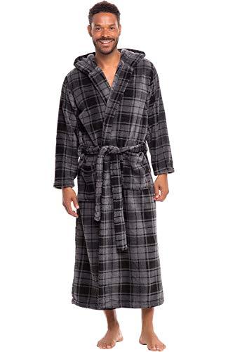 Alexander Del Rossa Men's Warm Fleece Robe with Hood, Big and Tall Bathrobe, Small-Medium Gray Plaid (A0125R40MD)