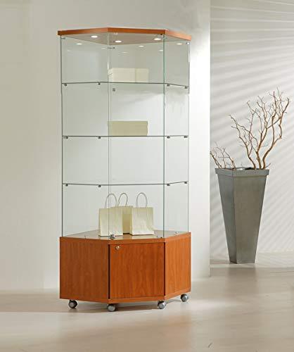 MHN hoekvitrine glas afsluitbaar - grote hoge kast glazen vitrine met verlichting oprolbaar kersenboom 68 cm