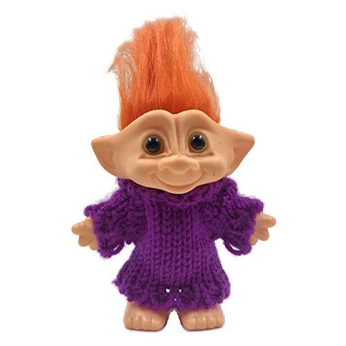 SM SunniMix Trolls Doll Cake Topper con Pelo Y Ropa, Trolls Figuras de Acción Pastel de Cumpleaños Cupcake Topper, Figuras de Trolls Juguetes, Troll Cake DEC - Pelo Naranja