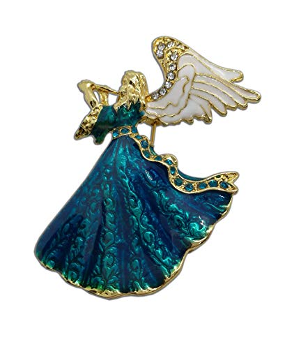 Eillwin Angel Cute Teal Beautiful Brooch Pin for Luck and Protection