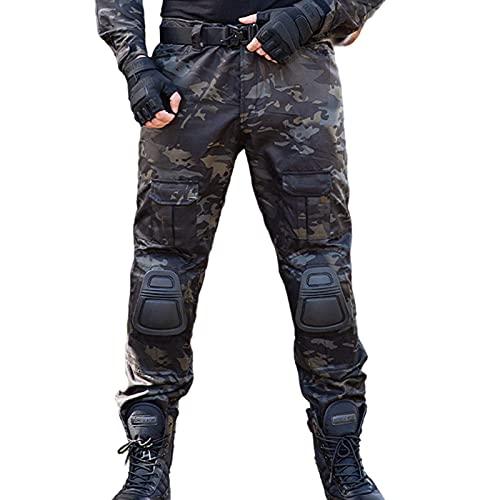 Q&M Pantalon Montaña para Hombre Cortaviento Abrigado Pantalones Trekking Acampada Pantalón con Rodilleras