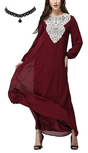 M-Queen Musulmane Long Maxi Robe Femmes Mousseline De Soie Islamique Abaya Muslim Robe Manche Longue - M=EU38-40 - Rouge