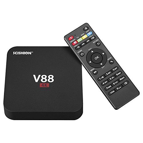 Homermax V88 TV-Box mit Android 5.1 Rockchip 3229 Quad-Core (1,5 GHZ) Kodi 16.0 Internet-Box, 4 USB-Host, unterstützt 4 K, 10-bit 60 fps, WiFi, voll geladen (1 G/8 G)