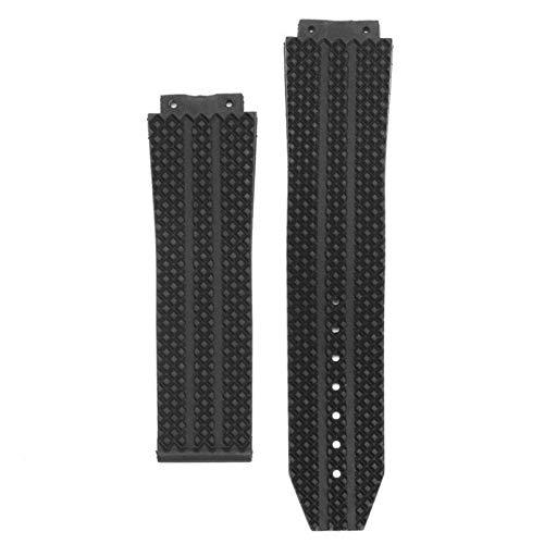 Correa de repuesto de goma de silicona negra para HUBLOT de 25 mm, accesorio para relojes de ancho