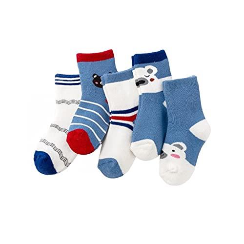 JSJJAYU chaussette 5 Pares/Lote Invierno Espesado más algodón niños Calcetines de Lana térmica cálido calcetín calcetín Calcetines de bebé niños por 1-10 años (Color : Bear, Size : 7-10T)