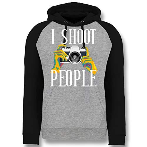 Shirtracer Fotografen - I Shoot People - bunt - weiß - XXL - Grau meliert/Schwarz - Kamera - JH009 - Baseball Hoodie