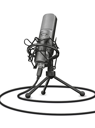 Oferta de Trust Gaming GXT 242 Lance - Micrófono con trípode para streaming, PC, PS4, PS5 - Negro