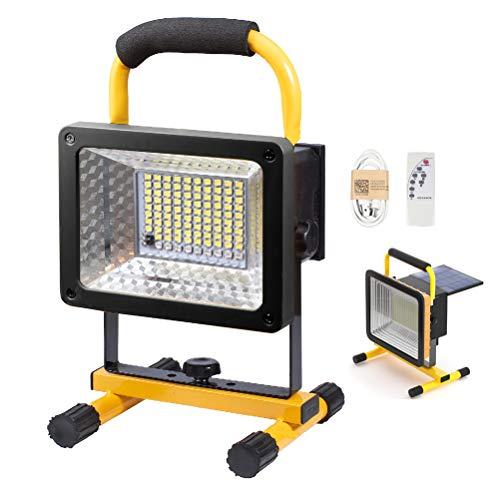 200W Super Helle LED Baustrahler mit Fernbedienung, Wiederaufladbare Tragbar Außen Flutlicht mit Solarpanel, 3 Modi Beleuchtung, Akku 13200 mAh, Wasserdicht Arbeitsscheinwerfer für Baustelle, 6000K
