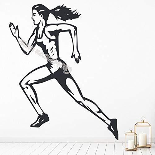 Weibliche Läufer Marathon Leichtathletik Wandaufkleber Perfekte Qualität Vinyl Laufen Jogging Aufkleber Sport mädchen Room Decor GYM wandbild 56 * 72 CM