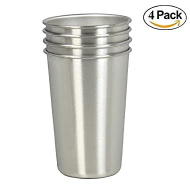 Stainless Steel Cups, Set of 4 16oz Drinking Cups, Stackable Beer Cup, BPA Free Healthy Metal Cups ◕‿。