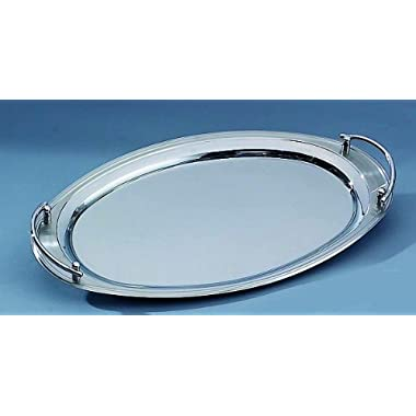 Elegance Silver 73028 Oval Stainless Steel Tray with Handles, 22  x 13