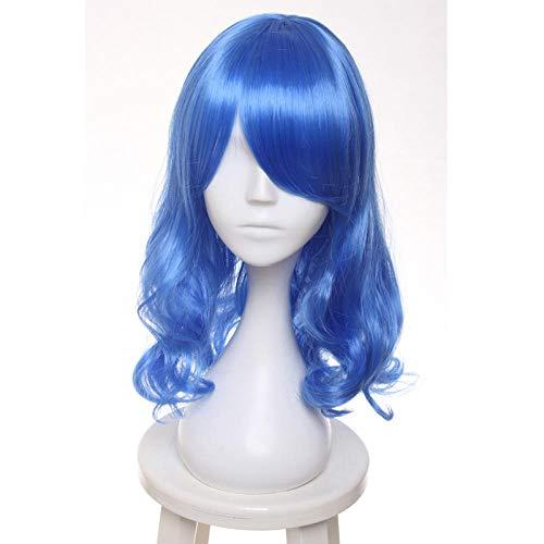 Fairy Tail Juvia Lockser Rainmaiden Blaue Lockige Hochtemperaturfaser Kunsthaar Party Cosplay Volle Perücken 45 Cm