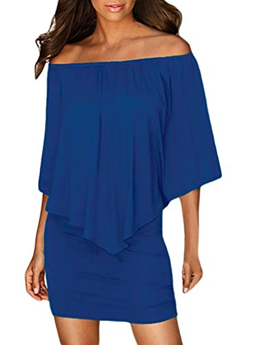 Sidefeel Women Off Shoulder Ruffles Party Mini Dress Large Blue
