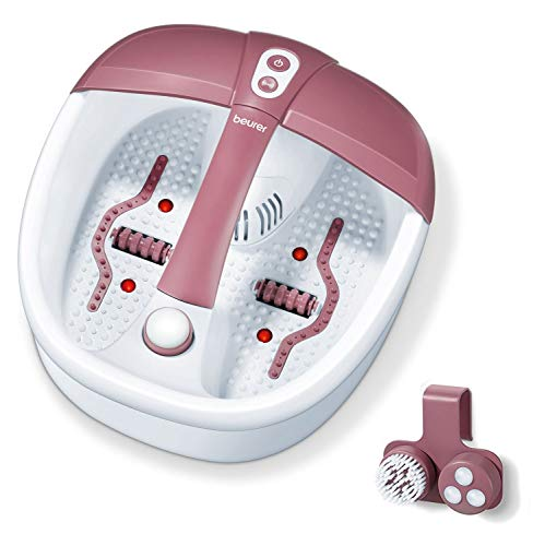 Beurer FB 35 Hidromasaje para Pies, 140 W, 3 funciones de masaje vibratorio, masaje con burbujas, calentamiento de agua, 16 imanes, aromaterapia, 41 x 38 x 17 cm, rojo y blanco