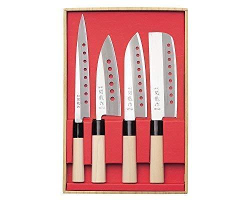 Juego de cuchillos profesionales japoneses de acero inoxidable, mango de madera de álamo, cuchillas de 21 cm, 15 cm, 16,5 cm, 16,5 cm, 16,5 cm, 16,5 cm, 16,5 cm