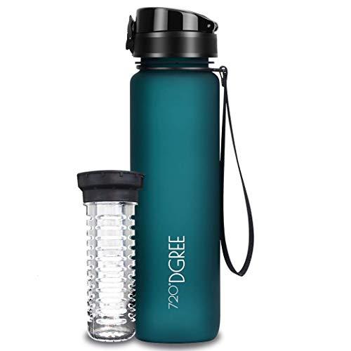 720°DGREE Botella de Agua uberBottle – 1 litro, 1l, 1000ml, Azul | Novedosa Botella Deportiva | Sin BPA | para niños, Fitness, Bicicleta, Deportes, fútbol, guardería, Escuela, pequeños, antigoteo