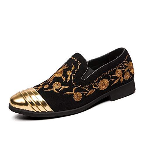 QLANG Zapatos de deslizamiento de moda para hombres Metal redondo Topo de...