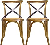 2xhome Set of 2 Walnut Mid Century Modern Farmhouse Antique Cross Back Chair with X Back Assembled Solid Real Wooden Frame Antique Style Dining Chair Side for Accent Chairs Woven Kitchen Task Work