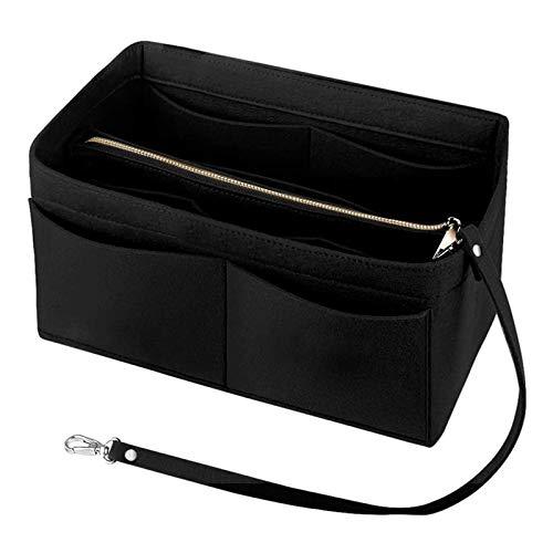 Handtaschen Organizer , Taschenorganizer Einsatz HandtascheTasche Bag Organizer in Tasche Organizer Innentaschen für Handtaschen mit Schlüsselkette und Reißverschluss 30X17X16CM (Schwarz)
