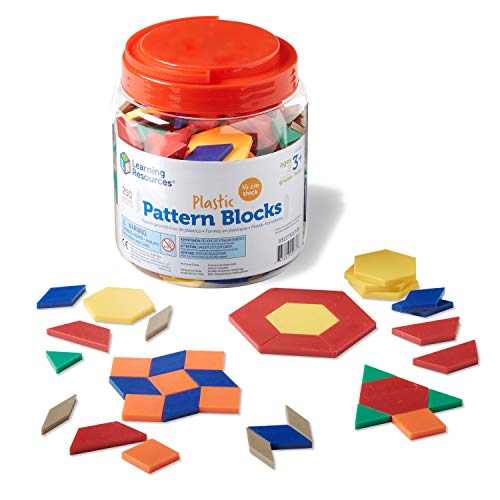 Learning Resources Plastic Pattern Blocks, Math Games for Kindergarten, Homeschool, Shape Recognition, Early Math Skills, Set of 250, Ages 3+