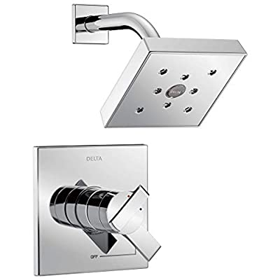 Delta Faucet Ara 14 Series Single-Function Shower Trim Kit with Single-Spray H2Okinetic Shower Head, Matte Black T14267-BL (Valve Not Included)