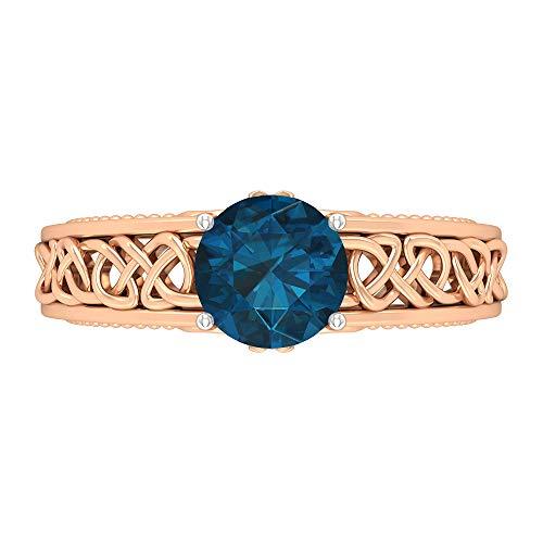 Anillo de 7 mm con solitario topacio azul Londres, D-VSSI Moissanita, anillo de compromiso con nudo celta dorado, 14K Oro rosa, Size:EU 70