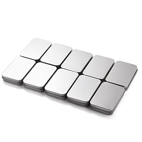 AIMITEI 12 Pack Silver Metal Rectangular Empty Tins Box Containers for Mints, Candies, Favors, Game Pieces, Geocaching & More, 3.7x2.4x0.8 inch