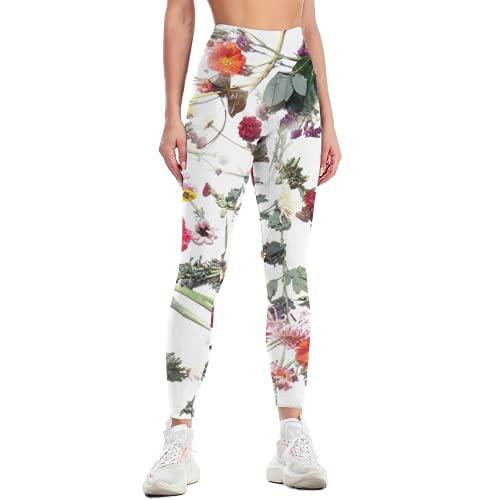 QTJY Pantalones de Yoga Florales para Mujer, Mallas de Yoga de Gimnasia de Cintura Alta Retro, Pantalones de Entrenamiento de Celulitis Ajustados elásticos B S